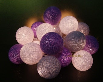 20 Mixed Gray Laver cotton ball string lights for Patio,Wedding,Party