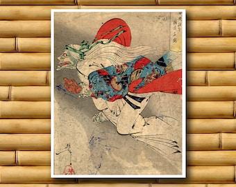 Japanese Demon Art Poster Asian Wall Art Retro Decor Japanese Print (J60)