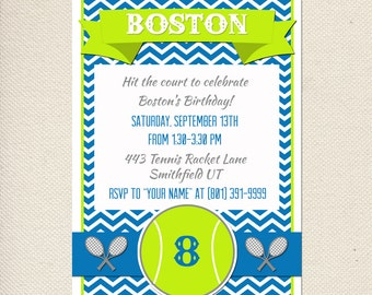 Tennis Party Invitation -  Customizable - You Print