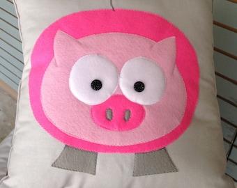 "Customizable Animal pillow, pig, 16"" square"