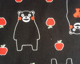 Half Yard- Kumamon Bear / Red Apples in Black Background- Cosmo Textile- Oxford Cotton- Japan