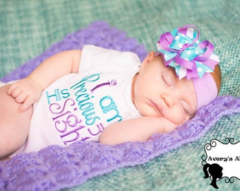I am Precious in his Sight - Girls Embroidered Shirt & Matching Hair Bow Set in aqua and lavender