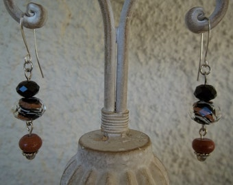 Glass and Goldstone Earrings