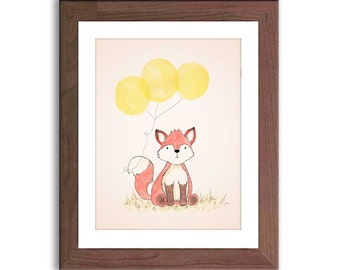 Fox Illustration Nursery Art - Fox Watercolor Print - Woodland Nursery Decor - Nursery Art - Baby Wall Art - Kidsa Wall Decor - F202