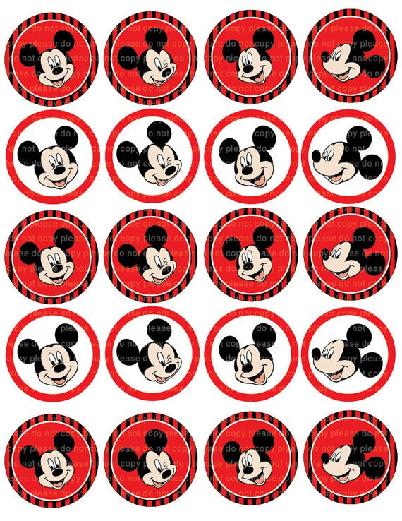 INSTANT DL Mickey Mouse Stickers Cupcake Toppers 2 Inch