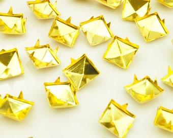 10mm Gold Pyramid Bead 4 Claw Rivet DIY Stud Bead Accessories(50 pcs)