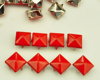 50 pcs. Red Pyramid Studs Rivets Biker Spikes spots nailheads Decorations Findings 9 mm  with 4 claws Rivets DIY accessories.