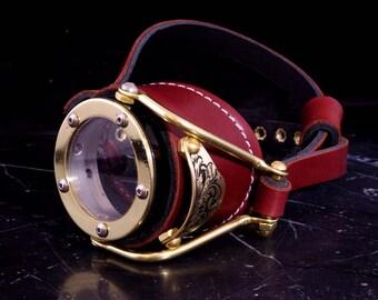 Steampunk Goggles Victorian Goth Brass Monocle Brown LARP Cosplay