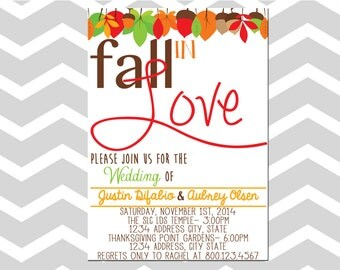 Wedding Invitation/Card with Leaves Fall In Love Wedding Invitation/Card
