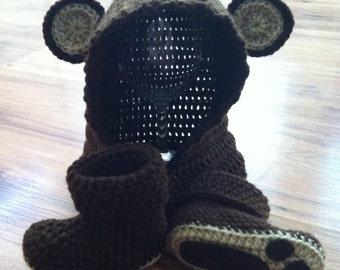 Crochet Bear Hood & Bear Booties