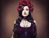 Extra Large Rose Flower Crown Headband Red Goth Boho Stevie Witchy Grunge