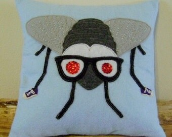 "FLY appliqued felt pillow 12"" x 12"""