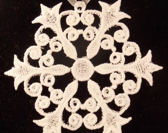 Large FSL Snowflake Ornament   Christmas Ornament  Lace Snowflake
