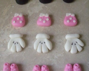 12 Edible Fondant Minnie Mouse Inspired 3d Cupcake Toppers
