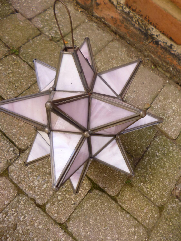 Moravian Star Lamp Vintage Chandlier Pink Glass Lantern Made