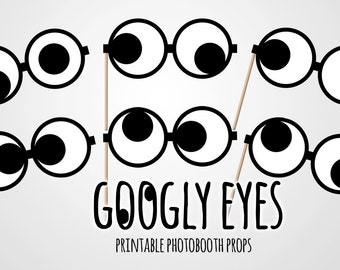 INSTANT DOWNLOAD -  Googly eyes photobooth props - Funny props - Party supplies - DIY printable props