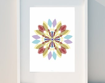 """Geometric poster """"Psychedelic Flower II"""" Art for home, Poster, home, wall decor, Print Design, A2, A3 or A4"""