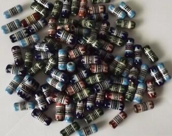 200 pcs Tube Ceramic Beads. Inka Geometric Motifs. 18 x 8 mm