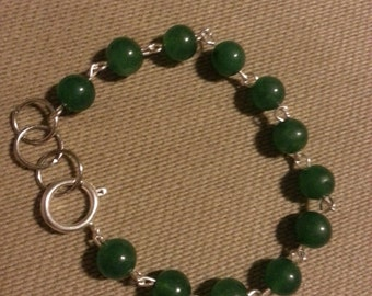Handmade beaded bracelet, dark green adventurine beads with silver accents and toggle clasp