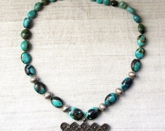 Silver Vintage Pendant & Turquoise Bead Necklace
