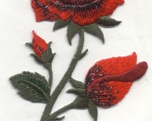 Red Rose patch Sew on embroidered Flower Roses Flowers with Green stems patches sew-on by capital city patch CO