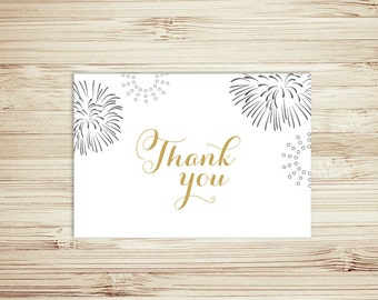 White and Gold - Fireworks - Thank You Card - Instant Download