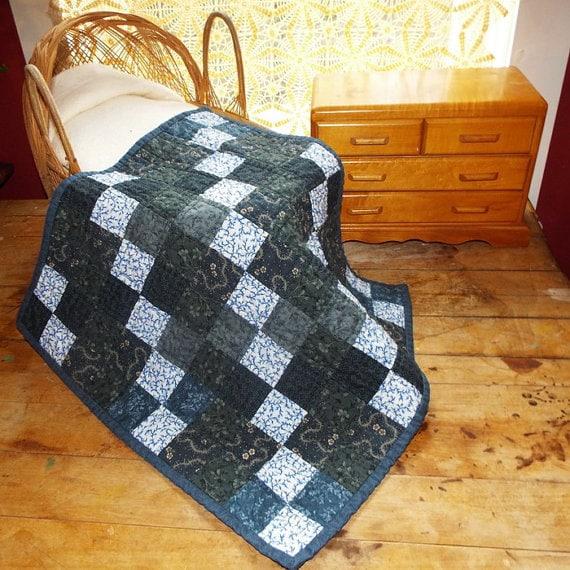 Indigo Blue Colonial Patchwork Doll Quilt