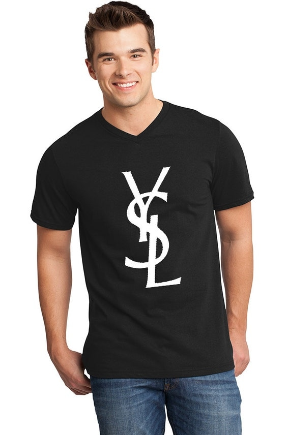 items similar to men ysl t shirt black v neck with white yves saint laurent logo on etsy. Black Bedroom Furniture Sets. Home Design Ideas