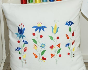 Cushion Cover. Embroidered Cushion Cover. Decorative pillow cover. Gift. Folk flowers cushion. Pillow case.Handmade pillow cover. Flowers