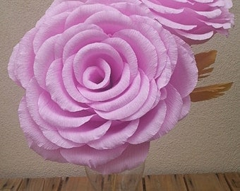 Giant Large Rose Color Crepe Paper Flower Rose, Wedding Flower, Wedding Bouquet, Giant Paper Flowers