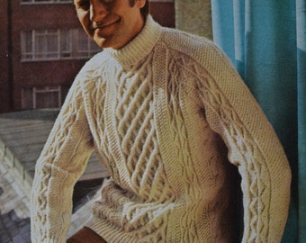 PDF Men's cable aran polo sweater vintage knitting pattern pdf INSTANT download men's cable only pdf 1960s