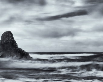 Beach Photography, Fine Art Photography, Black and White Photography, Landscape Photography, Wall Art, Home Decor, Ocean, Monochromatic, Zen
