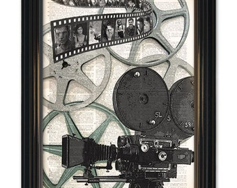 Vintage Movie Camera dictionary art print. Great home theatre decor.Old movie camera & reel on vintage dictionary book pages-8x10 inch.