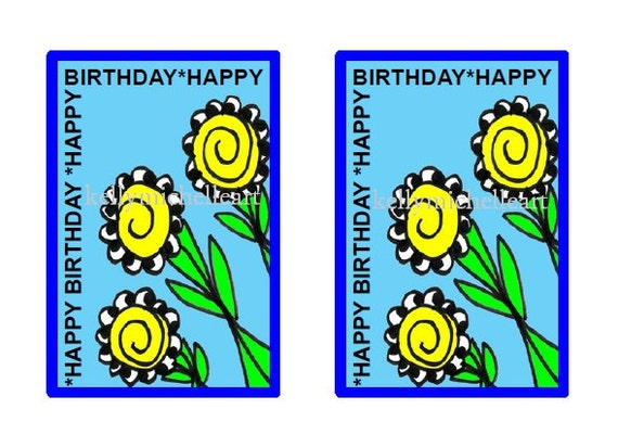 Digital Gift Tag PDF Printable Flower Design Birthday