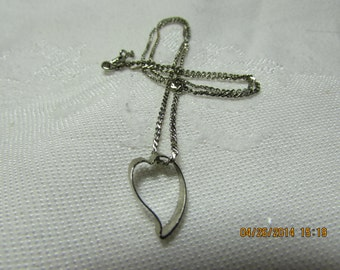 """Vintage Silver Toned Heart """"Friendship"""" Necklace"""