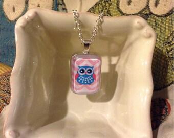 Owl Chevron Glass Pendant Necklace