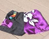 Towel Short Shorts -Size XL - Tiki Purple Black