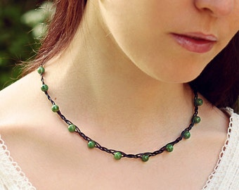 Braided chain Prasem beaded gemstones Celtic jewelry soft earth tones Green