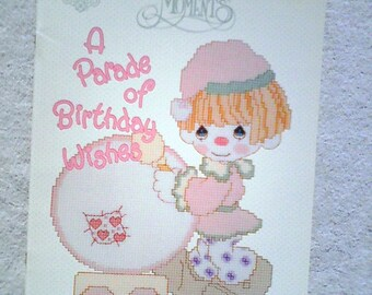 Vintage Precious Moments Cross Stitch Pattern Book PM-21 ...A Parade of Birthday Wishes Vol. 1