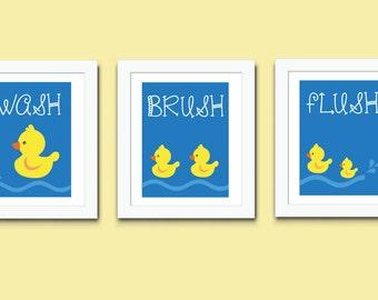 Wash Brush Flush Print, Kids Bathroom Print, 557