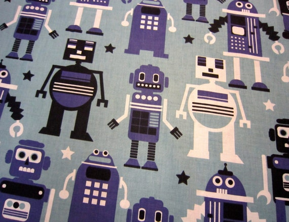 Blue robot fabric by blend called planet buzz for Fabric planet