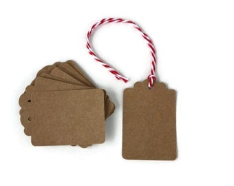 12 Kraft Scallop Top Tags | Kraft Gift Tags | Blank Gift Tags | Rustic Gift Tags