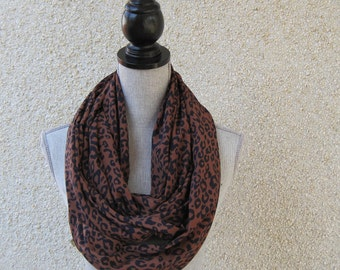 Fabric scarf, Infinity scarf, tube scarf, eternity scarf, loop scarf, long scarf in a brown and navy animal print