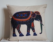 Elephant pillow, Cotton Linen Elephant pillow cover, cartoon pillow covers