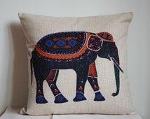 Elephant pillow, Cotton Linen Elephant pillow cover, cartoon pillow covers