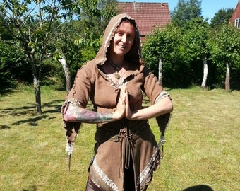 Enchanted elven long hooded coat