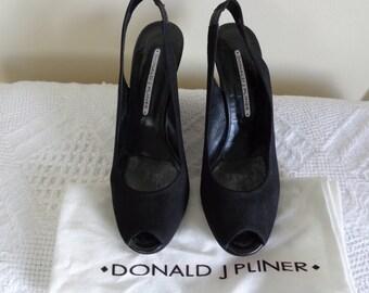 Donald Pliner Black Microfibre wedge peep toe retro
