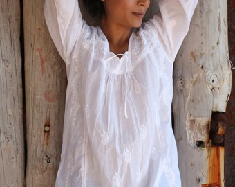 White cotton tunic from Ibiza