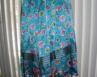 Genuine Diane Freis w signatures skirt elastic waist blue purple olive @ Vintage 50s 60s 70s Boutique