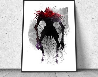 Ryuk, Shinigami, Death Note, watercolor illustration, giclee art print, silhouette, anime, wall decor